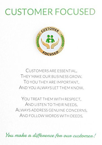 (Customer Focused Appreciation Greeting Card & Unique Lapel Pin Gift, Great for Employee, Coworker, Volunteer Recognition and Thanks )