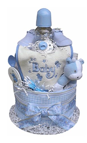Babygiftidea Boy's 2-tiered 13-inch x 10-inch Diaper Cake Centerpiece by Baby Gift Idea
