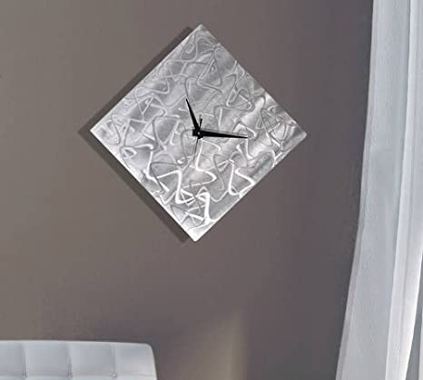 Amazon Com Statements2000 Silver Contemporary Metal Wall Clock Abstract Functional Art Metallic Timepiece Hanging Timekeeper Undefined Moment By Jon Allen 17 Inch Home Kitchen