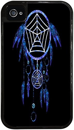 Dream Catcher Tribal Indian Symbol Black 2-in-1 Protective Case with Silicone Insert for Apple iPhone 4 / 4S by Moonlight Printing