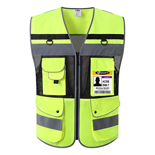 JKSafety 12 Pockets Class 2 High Visible Reflective Safety Vest Zipper Front Large Back Pockets Breathable and Mesh Lining ,Yellow-Black Meets ANSI/ISEA Standards(Yellow-Black Medium) ()