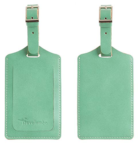 Travelambo Leather Luggage Bag Tags (Green 7268 Lotus Green)