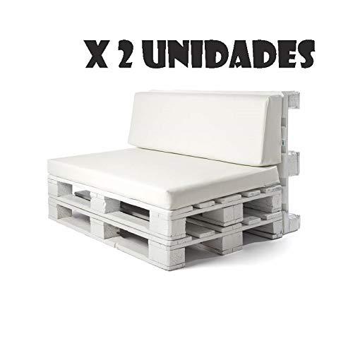 Pack 2 Colchonetas y respaldos para sofas de palet. Cojines rellenos de espuma para sofa de exterior. Color Blanco | Cojines de sofa chill out, ...