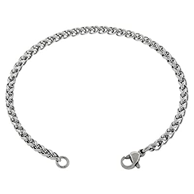 Women's Thin 3mm Wheat Chain Anklet, 316l Stainless Steel, 7in to 14in