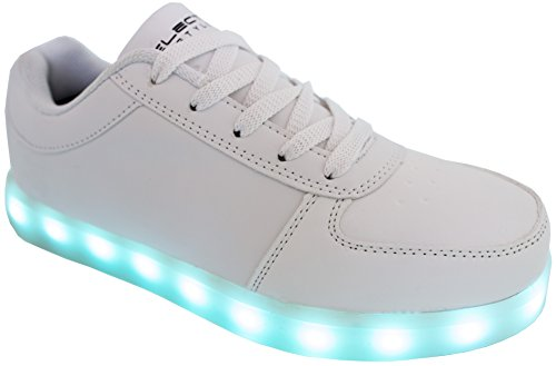 LED Shoes Light up Glow Sneakers (White, (10 men) (12 women))