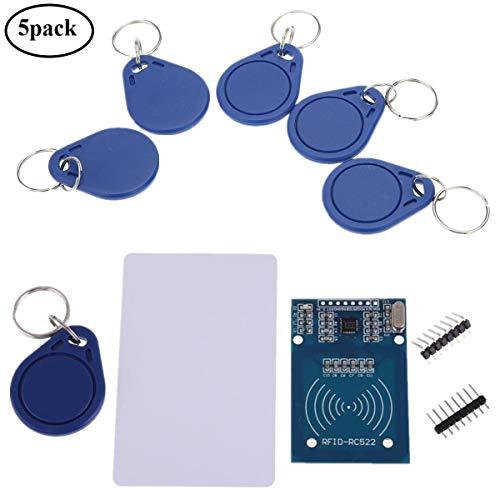 IZOKEE RFID Kit, MFRC RC522 RFID-RC522 RF IC Card Reader Sensor Module S50 13.56MHz RFID Smart Card RFID Chip Key Ring Mifare Arduino Raspberry Pi, 5pcs Extra Key Rings as ()