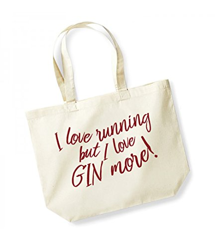 Unisex I Gin Bag Love I But Natural Red Cotton Canvas More Tote Love Running Slogan Ugx4Uq1