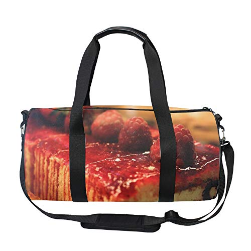 Gym Sports Dessert Sweet Batch Roll Raspberry Berries Small Duffel Bag for Men and Women with Shoes ()