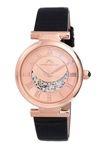 Porsamo Bleu Luxury Coco Automatic Ladies' Skeleton Watch; Rose Tone Stainless Steel Case and Black Genuine Leather Band…