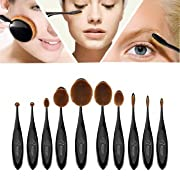 Amazon Lightning Deal 90% claimed: BESTOPE Makeup Brushes Professional 10 Pieces Oval Makeup Brush Set Soft Toothbrush Shaped Design Foundation Blush Contour Brushes for Powder Cream Concealer Cosmetic Brush