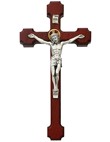 Cherry Wood Wall Cross Crucifix With Gold Color Halo Metal Corpis And INRI 10 Inch