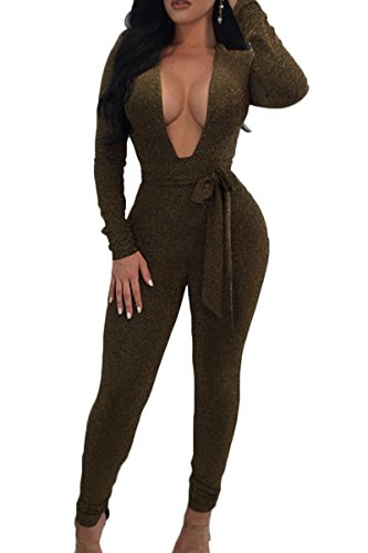 (ioiom Women's Glitter Jumpsuit Bodysuit Clubwear Sexy High Cut Deep V Neck Catsuit Long Romper)