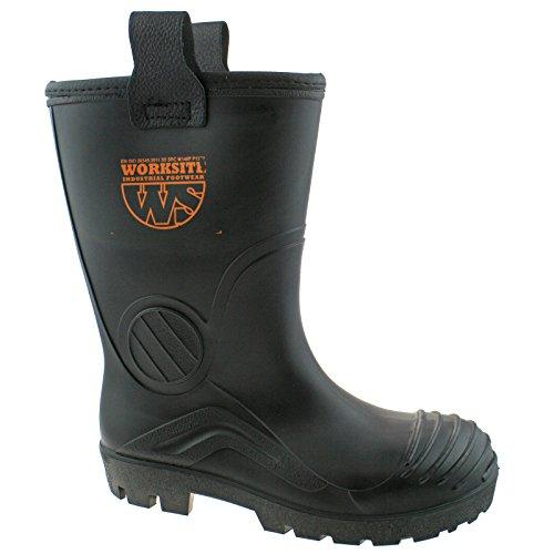 Worksite Mens Black Industrial Safety Steel Toe Cap Rigger Wellington Boots SS630SM UK12 (EU46)