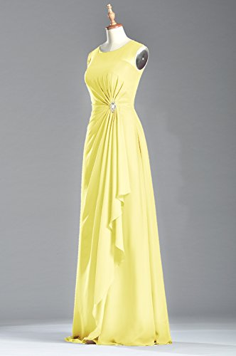 Natrual Bateau Dress Women's Long Chiffon Sleeveless Straps Sheath Daffodil Adorona I8E7wqq