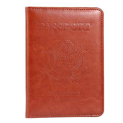 Passport Holder, RFID Blocking Leather Passport Holder Cover Case Travel Wallet(Brown)