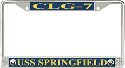 VR Graphics USS Springfield CLG-7 Metal License Plate Frame - American Made - Made in (Clg Matte)