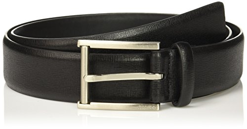 (Calvin Klein Men's Calvin Klein 35mm Feather Edge Strap Textured Leather Belt, black Brushed Nickel,)