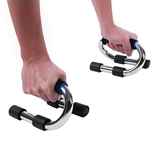 BEWISHOME Push Up Pushup Bars Stands 1 Pair Handles Set S Shaped Strong Chrome Steel for Men and Women Workout Pushup Training Program TFC01L