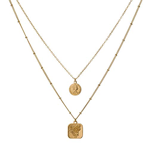 MissNity Dainty Layered Choker Necklaces Handmade Disc and Square Coin Pendant Multilayer Adjustable Layering Chain 14K Gold Plated Necklace Set for Women ()