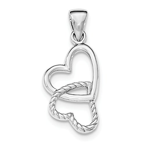 925 Sterling Silver Rhodium Plated Hearts Shaped Pendant (Rhodium Heart Plated Shaped Pendant)