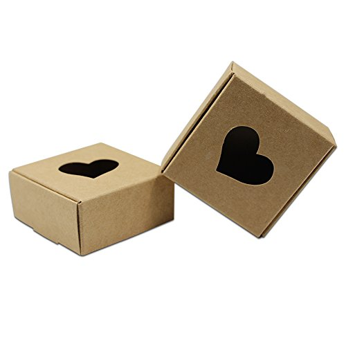 20 Pcs Brown Kraft Paper Gift Boxes For Biscuit Cookie Nut With Heart Shaped Window Take Out Container To Show Food Boxes ()