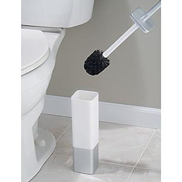 mDesign Portaescobilla de acero inoxidable Escobilla ba/ño de alta calidad con forma cuadrada Moderno escobillero de color plateado y blanco con soporte