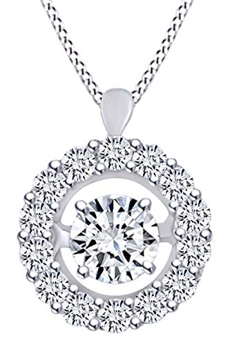 (Mothers Day Jewelry Gifts 0.40 Carat (Ctw) Round Shape White Natural Dancing Diamond Halo Pendant Necklace In 14k Solid White Gold)