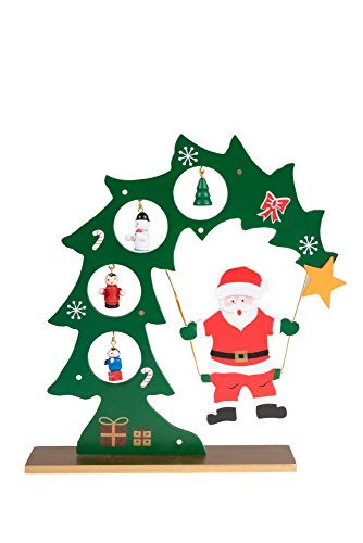 Clever Creations Wooden Table Top Santa Swinging from Christmas Tree Green and Red with Gold Base | 4 Painted Hanging Ornaments | Fits Any Christmas Decor | 100% Real Wood | Stands 8.75
