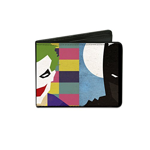 Buckle-Down Men's Wallet Joker/batman Face Juxtaposition Multi Color/blue/whit Accessory, -Multi, One (Catwoman From The Dark Knight Rises)