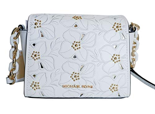 - Michael Kors Sofia Small Leather Perforated Floral Studded Crossbody Purse (Vanilla)