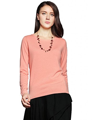 Miuk Womens Basic Slim Round Neck Long Sleeve 100% Cashmere Pullover Sweater Pink XL