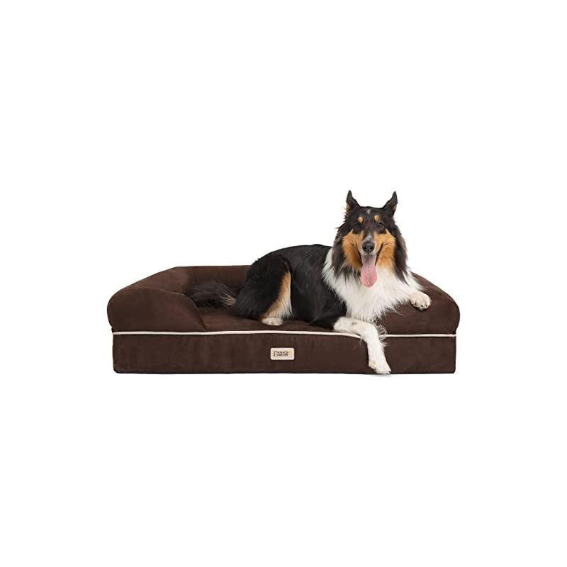 "Friends Forever Orthopedic Dog Bed Lounge Sofa Removable Cover 100% Suede 4"" Mattress Memory-Foam Premium Prestige Edition"