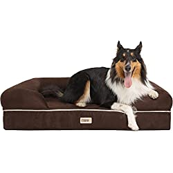 """Friends Forever 100% Suede Large Dog Bed/Lounge, Prestige Edition (44"""" x 34"""" x 10"""") (Cocoa XL)"""