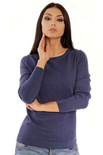 Women's Pure Merino Wool Classic Knit Top Lightweight Crew Neck Sweater Long Sleeve Pullover (X-Small, Navy-Melange)