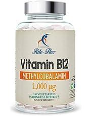 Vitamine B12 Methylcobalamin 1000mcg, 180 Meltlets sublinguale végétarien végétarien, supplément de haute résistance d'approvisionnement de 6 mois par Rite-Flex