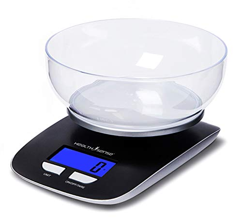 HealthSense Chef-Mate KS 33 Digital Kitchen Scale and Food Scale with Detachable Bpa Free Bowl and...