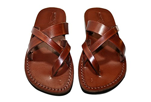 Brown Comply Unisex Leather Sandals / Genuine Handmade Leather Holy Land Biblical Jesus Sandals (EURO  39)