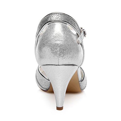 Pompes Chaussures de Argent JIA Peep Mariage Talon pour JIA de Scintillant Mariée Chaussures Scintillant Femme Toe 5949421 Cône Zx6TROFqTw