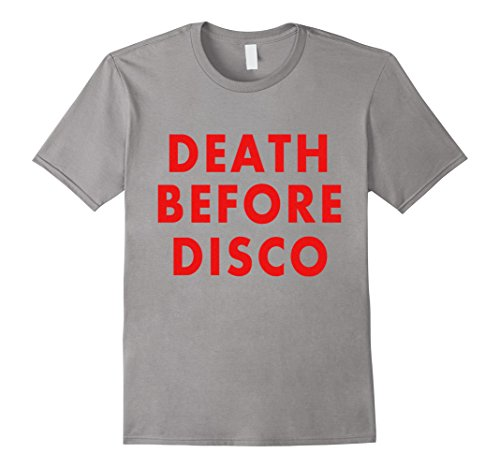 Mens Death Before Disco Retro Funny Shirt 2XL Slate