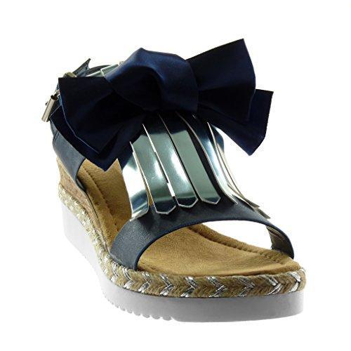 Angkorly Zapatillas Moda Sandalias Mules Correa de Tobillo Plataforma Mujer Nodo Fleco Cuerda Plataforma 5.5 cm Azul
