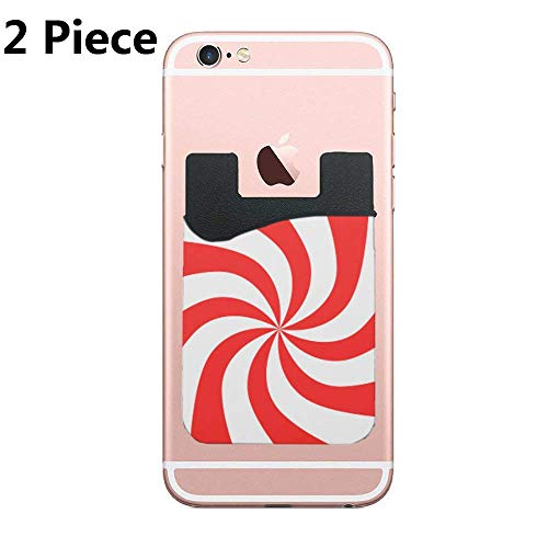 (Peppermint Candy Cell Phone Card Holder, Stick On Wallet for Back of Phone, for iPhone, All Smartphones - 2Pack)