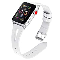 TUJUIO Leather Bands Compatible Apple Watch,38mm/40mm 42mm/44mm Slim Strap with Breathable Hole Replacement Wristband for iWatch Series 4/3/2/1 Nike+ Edition