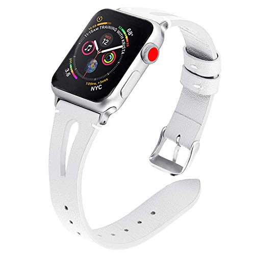 TUJUIO Leather Bands Compatible Apple Watch,38mm/40mm 42mm/44mm Slim Strap with Breathable Hole Replacement Wristband for iWatch Series 4/3/2/1 Nike+ Edition (White, 42mm/44mm)