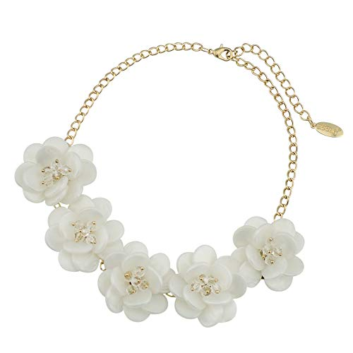 Bocar White Acrylic Gold Plate Statement Pendant Choker Flower Necklace for Women (NK-10281)
