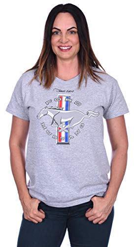 JH DESIGN GROUP Women's Ford Mustang Classic Tri-Bar Pony Emblem T-Shirt Black Red Heather-Gray (Small, Heather Gray - V-Neck) (Used Mustang 2 Front End For Sale)