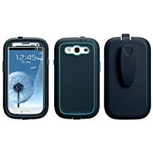 Case Mate CM021190 Phantom Case with belt clip.Screen protector included. Navy/Aqua.