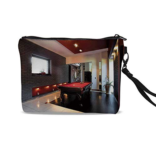 Modern Decor Cute Cosmetic Bags,House with Snooker Table Hobby Pool Game Flat Furniture Leisure Time Print For traveling,9