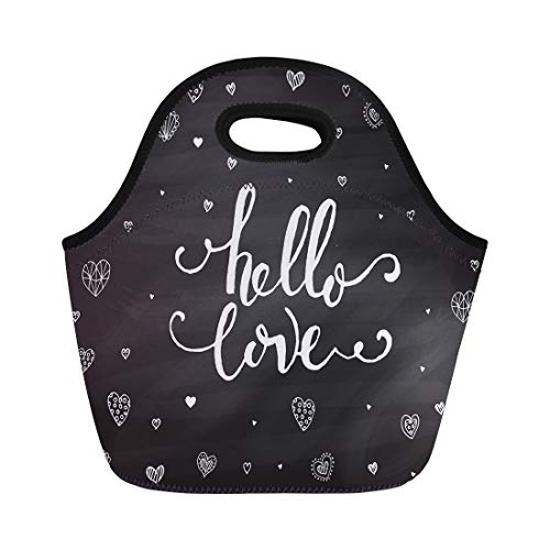Semtomn Neoprene Lunch Tote Bag Hand Sketched Hello Love Text As Happy Valentines Day Reusable Cooler Bags Insulated Thermal Picnic Handbag for Travel,School,Outdoors,Work