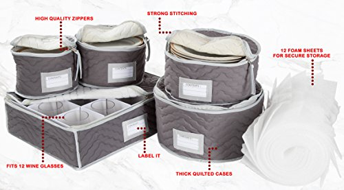 China Tea Cups and Plates Storage Set u2013 Deluxe Quilted Microfiber u2013 Grey with Braidz Foam Padding & Top 10 Best China Storage Containers - Best of 2018 Reviews | No ...