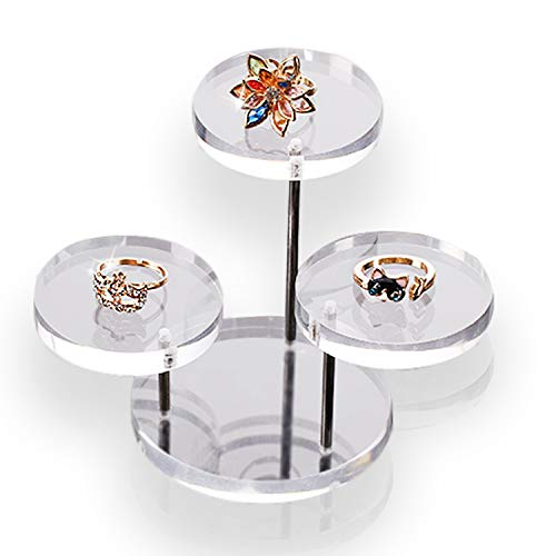 (PPX Acrylic Round Barbell Pedestal Display Riser Table Jewelry Display Showcase Stand Holder)
